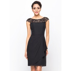 Sheath/Column Scoop Neck Knee-Length Chiffon Cocktail Dress With Lace Cascading Ruffles (016055956)