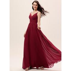 Трапеция V-образный Длина до пола шифон Платье Подружки Невесты с Рябь Кружева
