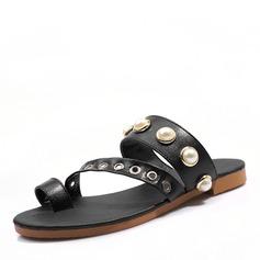 Kvinder Kunstlæder Flad Hæl sandaler Fladsko Kigge Tå Slingbacks med Imiteret Pearl sko