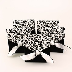 Ivory And Black Flourish Card Paper Favor Boxes & Containers With Ribbons (Set of 12)
