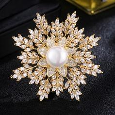 étincelles Alliage/De faux pearl avec Strass Dames Broche