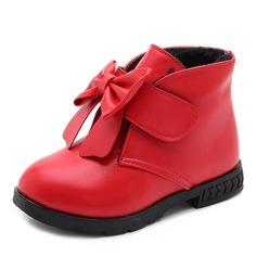 Mädchens Round Toe Geschlossene Zehe Leder Flache Schuhe Stiefel Blumenmädchen Schuhe mit Bowknot Klettverschluss