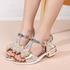 A menina de Peep toe imitação de couro Sandálias Sem salto com Bowknot Cristal Button