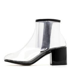 Frauen PVC Stämmiger Absatz Geschlossene Zehe Stiefel Stiefelette Schuhe