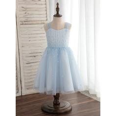 Forme Princesse Longueur genou Robes à Fleurs pour Filles - Tulle Sans manches Bretelles