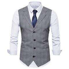 Plaid Polyester Coton Gilet Homme