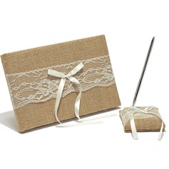 Splendor Ribbons/Bow/Lace Guestbook & Pen Set