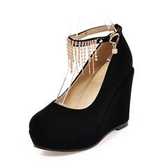 Женщины Замша Вид каблука Платформа Закрытый мыс Танкетка с Цепь обувь
