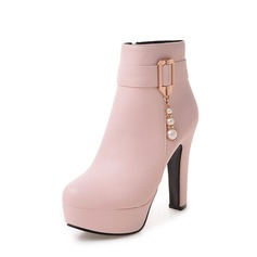 Women's PU Chunky Heel Pumps Platform Boots With Zipper Others shoes