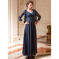 A-Linie/Princess-Linie V-Ausschnitt Knöchellang Chiffon Kleid für die Brautmutter mit Perlen verziert