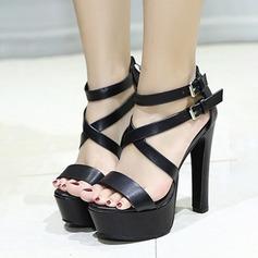 Femmes PU Talon stiletto Sandales Escarpins Plateforme À bout ouvert avec Boucle chaussures