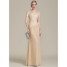 A-Line/Princess Scoop Neck Floor-Length Chiffon Lace Mother of the Bride Dress (008102706)
