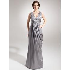 Etui-Linie V-Ausschnitt Bodenlang Charmeuse Kleid für die Brautmutter mit Rüschen Perlen verziert