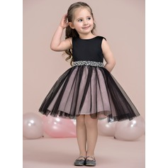 A-Line/Princess Knee-length Flower Girl Dress - Satin/Tulle Sleeveless Scoop Neck With Beading (010115806)