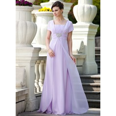 A-Line/Princess Square Neckline Floor-Length Chiffon Mother of the Bride Dress With Ruffle Beading Sequins