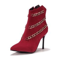 Femmes Suède Talon stiletto Escarpins Bottines avec Chaîne chaussures
