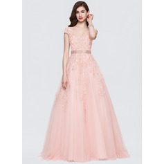 Ball-Gown V-neck Sweep Train Tulle Prom Dresses With Beading Sequins (018146358)
