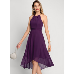 A-Line Scoop Neck Asymmetrical Chiffon Cocktail Dress (016212853)
