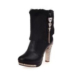 Женщины PU ткань Высокий тонкий каблук На каблуках Закрытый мыс Ботинки Сапоги до середины голени с Застежка-молния обувь
