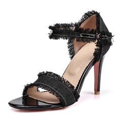 Kvinnor Jeans Stilettklack Sandaler Pumps med Spänne skor