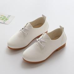 Unisexe similicuir talon plat Bout fermé Chaussures plates avec Dentelle