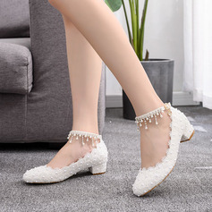 Kids' Leatherette Chunky Heel Closed Toe Pumps MaryJane With Rhinestone Flower Applique