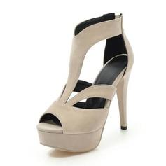 Mulheres Veludo Salto agulha Sandálias Bombas com Fivela sapatos