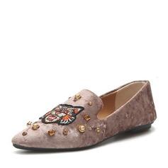 Donna Camoscio Senza tacco Ballerine Punta chiusa con Rivet scarpe