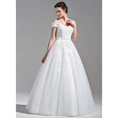 Ball-Gown Off-the-Shoulder Floor-Length Tulle Lace Wedding Dress With Beading Sequins