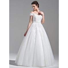 De baile Off-the-ombro Longos Tule Renda Vestido de noiva com Beading lantejoulas