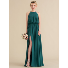 A-Line/Princess Scoop Neck Floor-Length Chiffon Bridesmaid Dress With Ruffle Split Front (007144750)