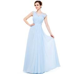 Vestidos princesa/ Formato A Decote redondo Longos Tecido de seda Vestido de festa com Pregueado Beading lantejoulas