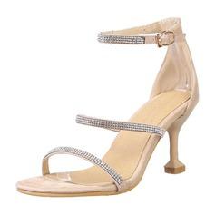 Femmes Similicuir Talon stiletto Sandales Escarpins À bout ouvert avec Strass chaussures