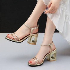 Mulheres Couro Salto robusto Sandálias Bombas com Lantejoulas sapatos
