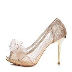 Kvinnor Glittrande Glitter Mesh Stilettklack Peep Toe Plattform Beach Wedding Shoes med Bowknot