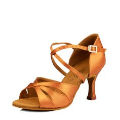 Women's Satin Silk Heels Sandals Latin Dance Shoes