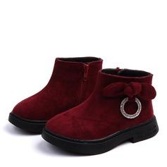 Mädchens Veloursleder Flache Ferse Flache Schuhe Stiefel mit Bowknot Kristall