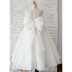 Ball-Gown/Princess Ankle-length Flower Girl Dress - Tulle 1/2 Sleeves Scoop Neck