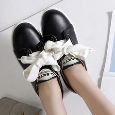 Kvinner PU Flat Hæl Flate sko Lukket Tå med Blondér sko