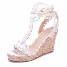 Women's Leatherette Wedge Heel Peep Toe Platform Sandals Wedges With Ruffles Lace-up