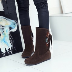 Women's Suede Flat Heel Flats Closed Toe Boots Mid-Calf Boots With Bowknot Others shoes