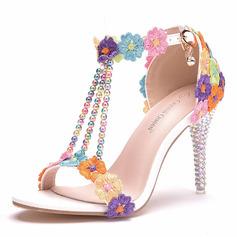 Kvinder Kunstlæder Stiletto Hæl Kigge Tå sandaler med Spænde
