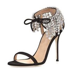 Donna Camoscio Tacco a spillo Sandalo Stiletto Punta aperta con Strass scarpe