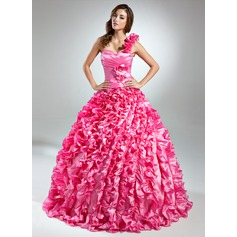 Ball-Gown One-Shoulder Floor-Length Taffeta Quinceanera Dress With Beading Flower(s) Cascading Ruffles