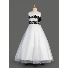 Forme Princesse Longueur ras du sol Robes à Fleurs pour Filles - Organza/Satiné Sans manches Col rond avec Dentelle