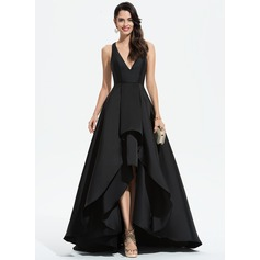 A-Line V-neck Asymmetrical Satin Evening Dress With Cascading Ruffles (017196064)