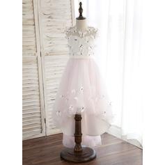 Forme Princesse Asymétrique Robes à Fleurs pour Filles - Satiné/Tulle Sans manches Col rond avec Fleur(s)