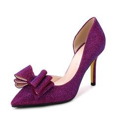 Vrouwen Sprankelende Glitter Stiletto Heel Pumps Closed Toe met strik Sprankelende Glitter schoenen
