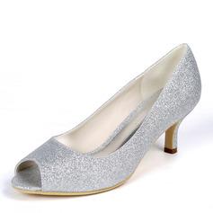 Kvinnor Glittrande Glitter Stilettklack Öppen tå Pumps med Glittrande Glitter