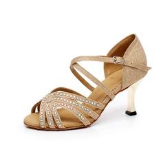 Women's Sparkling Glitter Heels Sandals Latin With Rhinestone Dance Shoes